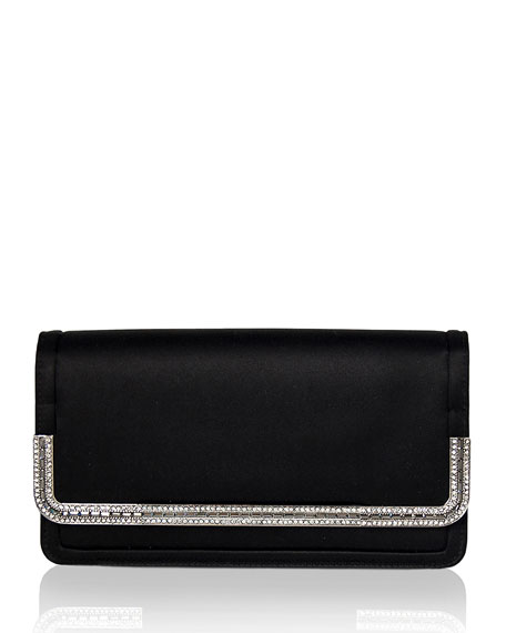 Judith Leiber Couture Lenox Satin Crystal-Trim Clutch Bag,