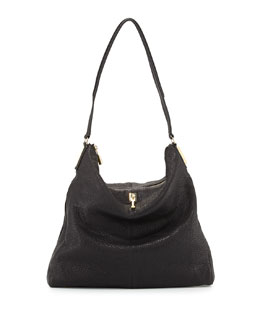 Pyramid Leather Hobo Bag, Black