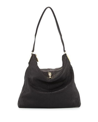 Pyramid Leather Hobo Bag, Black