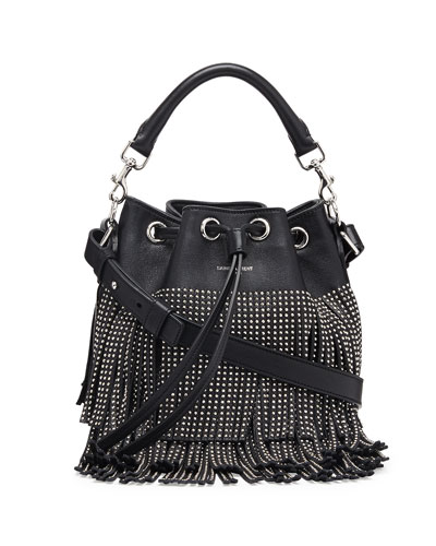 Small Stud Fringe Bucket Shoulder Bag, Black