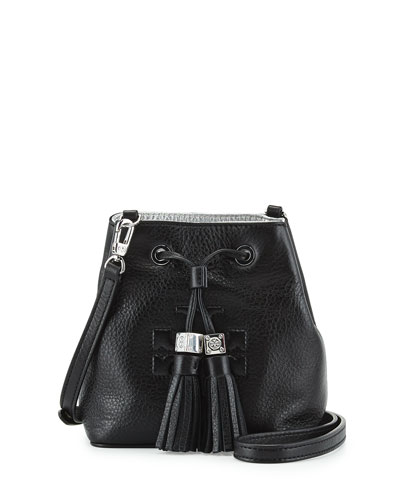 Thea Mini Crossbody Bucket Bag, Black
