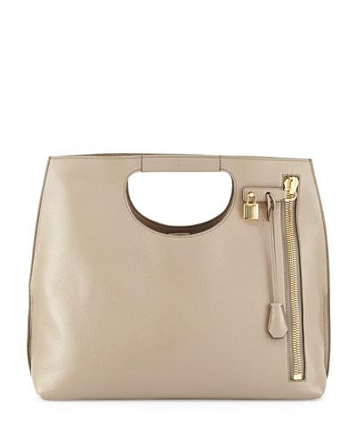 Alix Zip & Padlock Shopper Tote Bag, Taupe