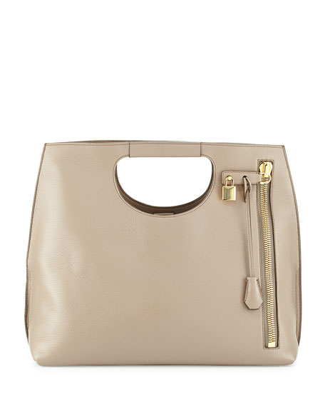 TOM FORD Alix Zip & Padlock Shopper Tote Bag, Taupe