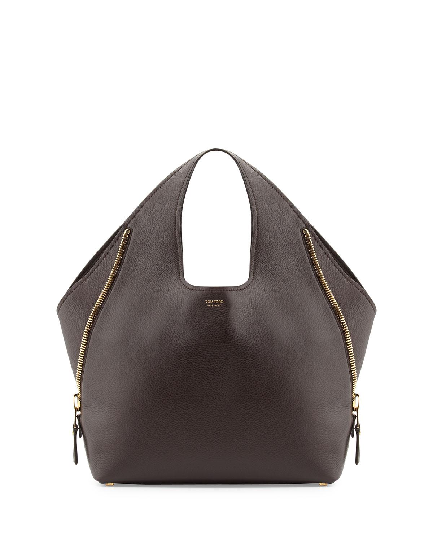 9a8a14cd1af7ae TOM FORD Jennifer Side-Zip Leather Hobo Bag, Dark Brown   Neiman Marcus