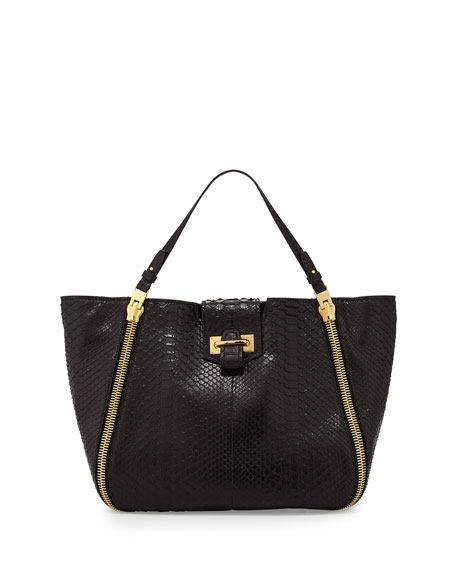 TOM FORD Sedgwick Medium Python Zip Tote Bag,