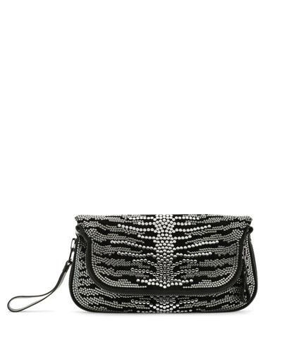 Jennifer Studded Spine Clutch Bag, Black
