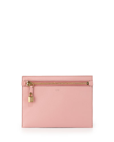 Large Calfskin Zip Clutch Bag, Pink