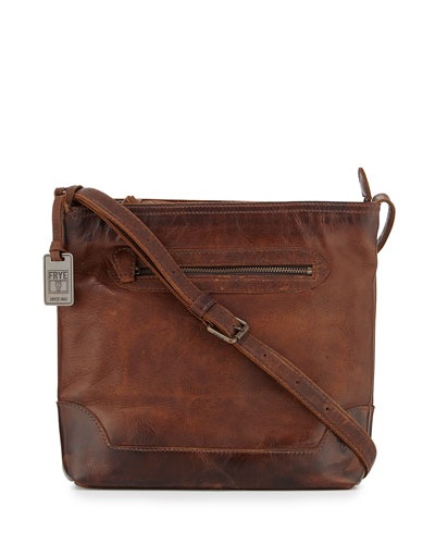 Melissa Tumbled Leather Crossbody Bag, Dark Brown