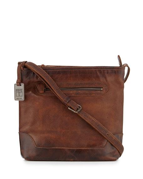 Melissa Tumbled Leather Crossbody Bag, Dark Brown
