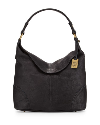Campus Fold-Over Hobo Bag, Black