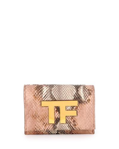 TF Small Python Flap Crossbody Bag, Nude Multi