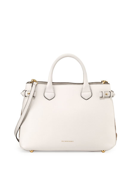 Burberry Leather Check-Panel Satchel Bag, White