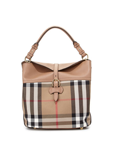 Medium Check/Leather Shoulder Bag, Dark Sand