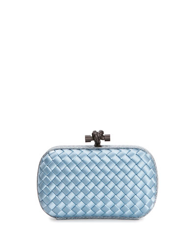 Woven Satin Knot Minaudiere, Light Blue