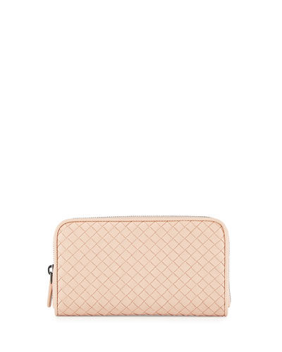 Woven Leather Continental Wallet, Pink