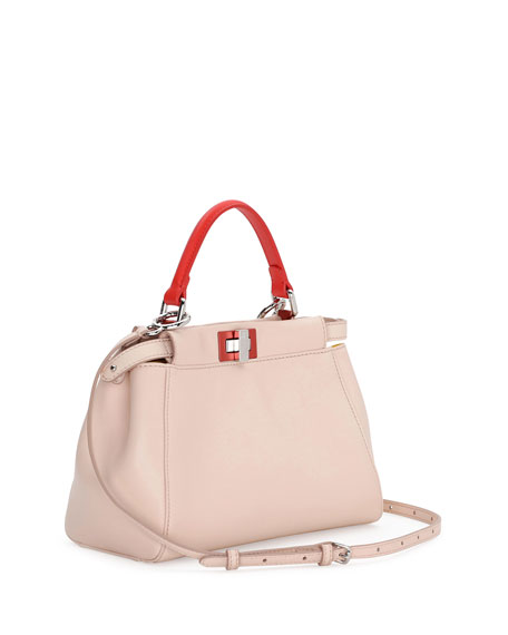 Fendi Peekaboo Mini Tricolor Satchel Bag, Light Pink/Yellow/Orange