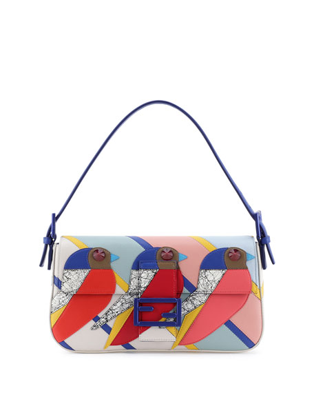 Fendi Geometric Bird Baguette Bag, Red/Blue/Pink
