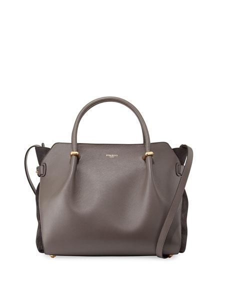 Nina Ricci Marche Medium Leather Satchel Bag, Gray