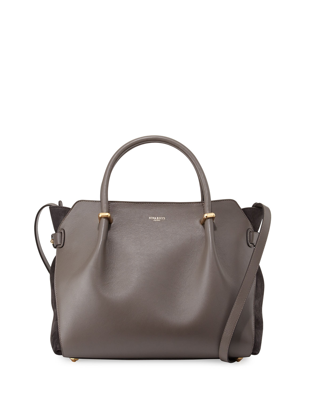 Marche Medium Leather Satchel Bag Gray