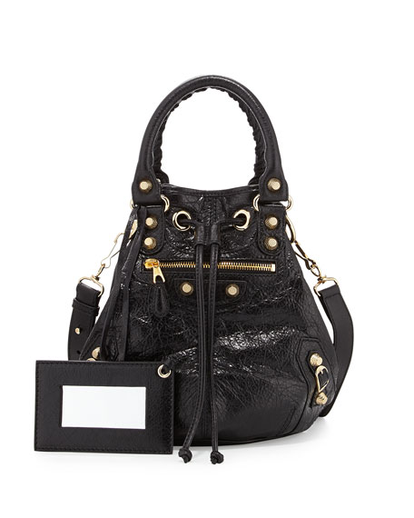 Balenciaga Giant 12 Golden Mini Pompon Bag, Black