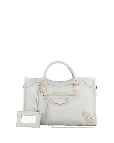 BalenciagaClassic Chevre Grainee City Bag, Light Gray