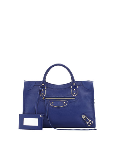 Classic Chevre Grainee City Bag, Blue