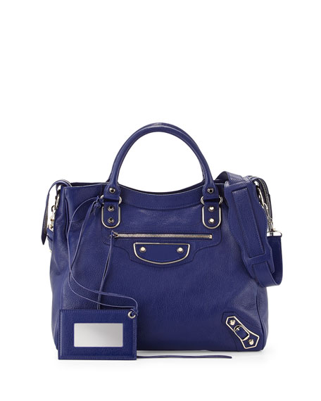 Balenciaga Metallic Edge Classic Velo Bag, Blue