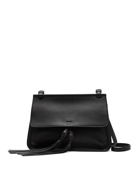 Bamboo Daily Leather Flap Shoulder Bag, Black