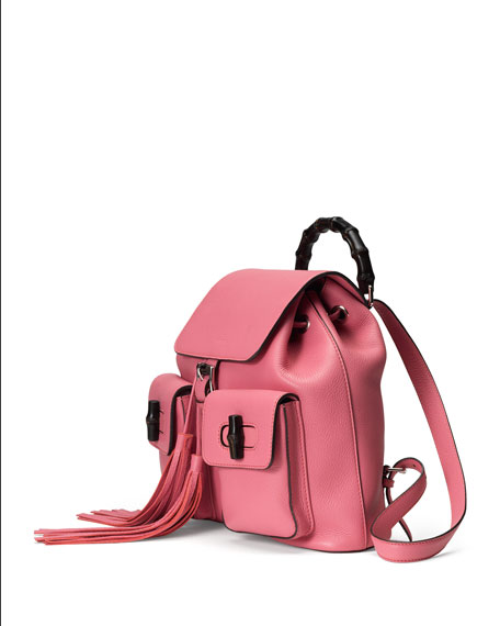 Gucci Bamboo Sac Leather Backpack, Coral Pink