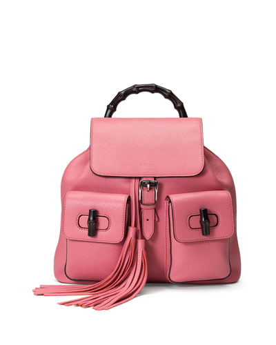 Bamboo Sac Leather Backpack, Coral Pink