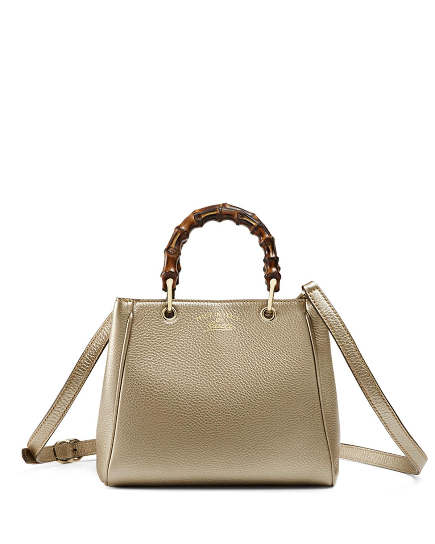 b9a169a25143 Gucci Bamboo Shopper Mini Leather Top Handle Bag, Gold | Neiman Marcus