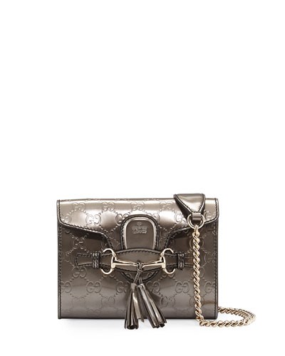 Emily Guccissima Mini Crossbody, Gunmetal