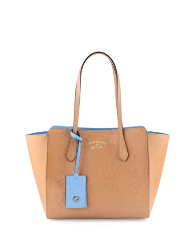 Swing Small Tote Bag, Beige/Blue