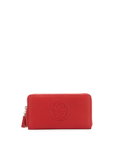 Gucci Soho Leather Travel Zip Around Wallet, Red