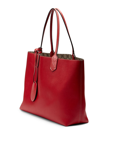 Reversible GG Leather Tote, Brown/Red