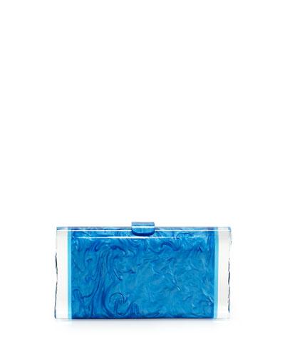 Lara Acrylic Ice Clutch Bag, Blue