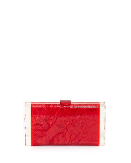 Lara Acrylic Ice Clutch Bag, Red