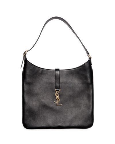 Monogramme Medium Leather Flat Hobo Bag, Black
