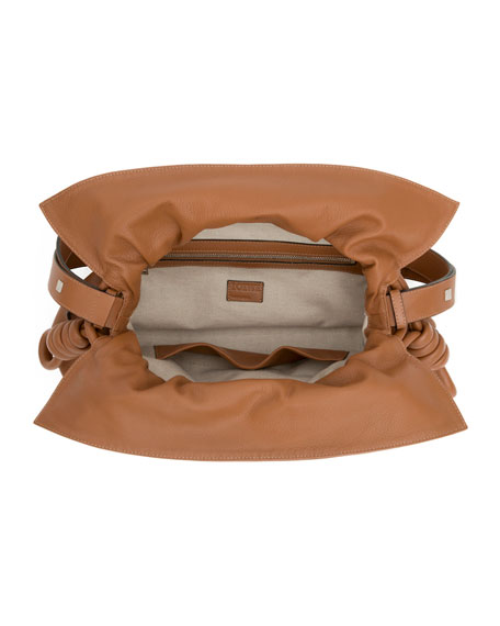 flamenco knot bucket bag tan