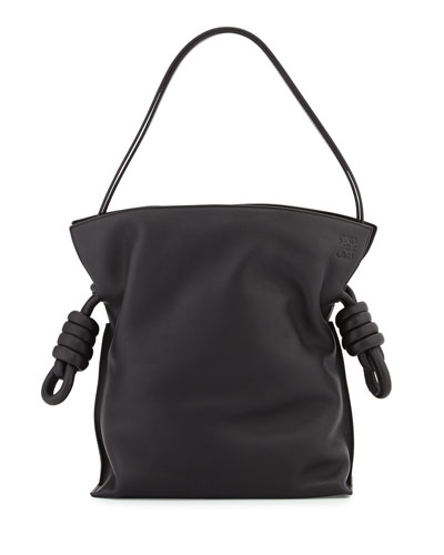 Flamenco Small Knot Bucket Bag, Black