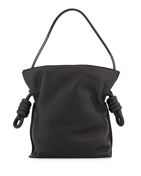 Loewe Flamenco Small Knot Bucket Bag, Black