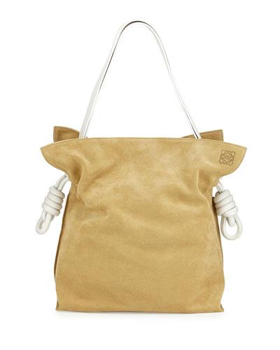 Flamenco Bicolor Knot Bucket Bag, Gold/White