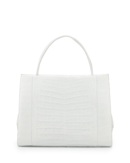 Wallis Crocodile Satchel Bag, White Shiny