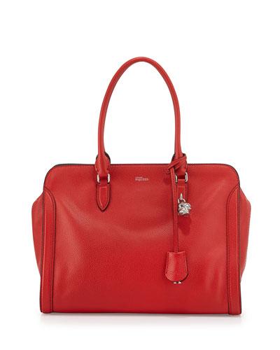 Skull Medium Padlock Leather Zip-Around Satchel Bag, Red