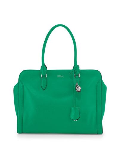 Alexander McQueen Medium Padlock Zip Satchel Bag, Green