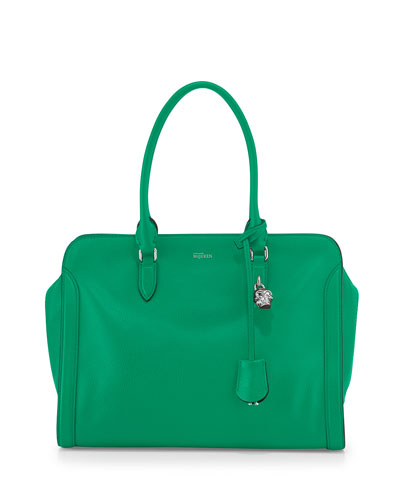 Medium Padlock Zip Satchel Bag, Green