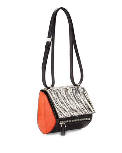 Pandora Mini Box Snakeskin Shoulder Bag, Black/White/Orange