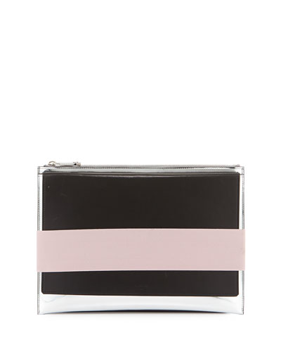 Mirror Leather Stretch-Band Clutch Bag, Silver