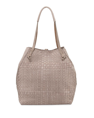 Woven Double-Handle Tote Bag, Light Taupe