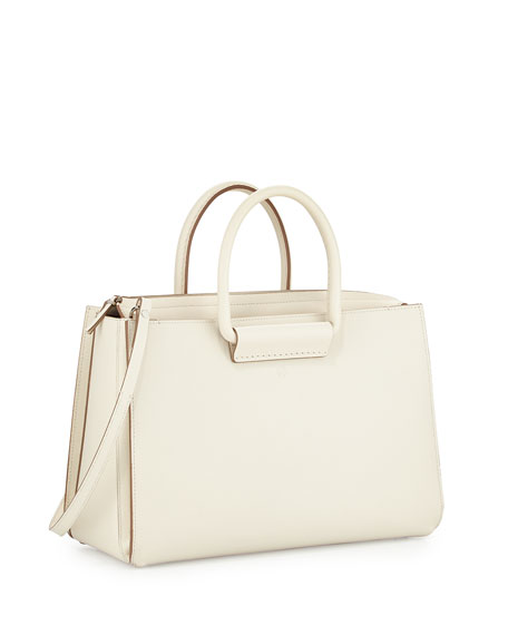 Satchel 12 Leather Tote Bag, Ivory